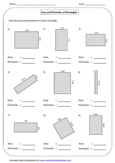 area and perimeter worksheets rectangle worksheets