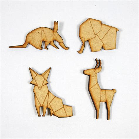 Folded Paper Animals - origami animals wooden brooches by abigail