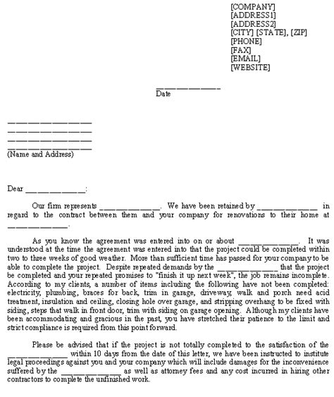 Demand Letter Contractor Sle Letter For Construction Demand To Complete Project Template From Business