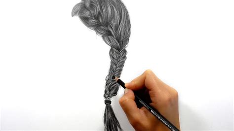 realistic plait hair styles timelapse drawing shading realistic hair side braid