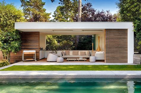 house pools moderne poolhouse in hout en cr 233 pi bogarden poolhouse