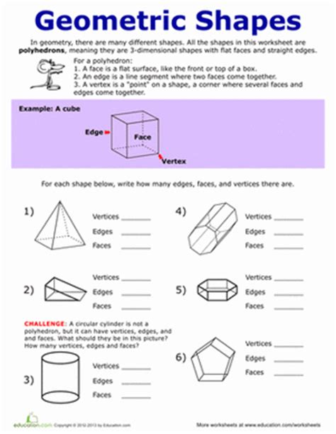 printable math worksheets faces edges and vertices faces edges and vertices worksheet education com