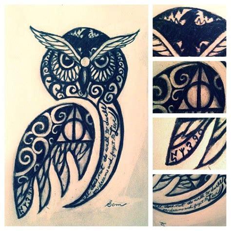 owl tattoo harry potter owl tattoo with hp details woah pinterest