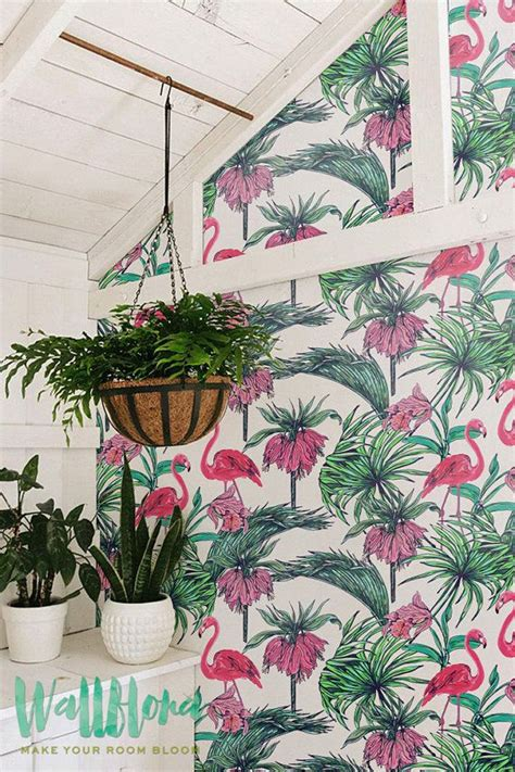 flamingo wallpaper etsy tropical pattern wallpaper exotic removable wallpaper
