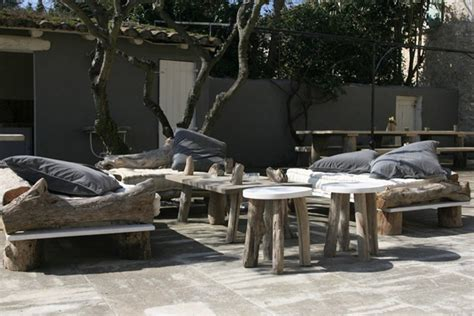new indoor outdoor furniture collection blends driftwood with modern lines gardens