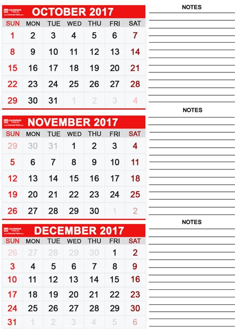 Calendar October 2017 November 2017 December 2017 Printable November 2017 Calendar Calendar Table Calendar