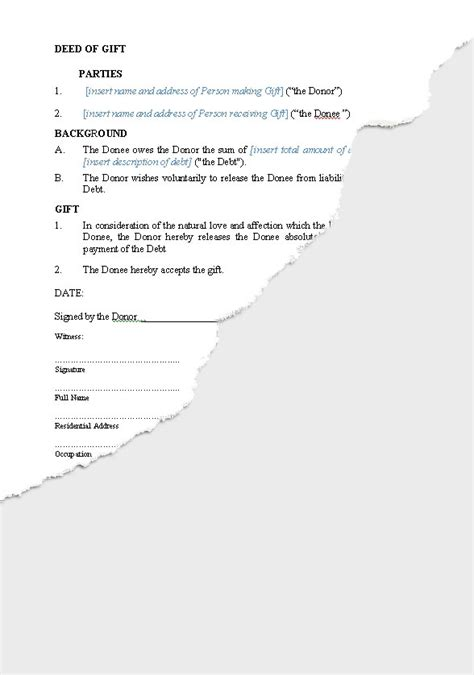 deed of acknowledgement of debt template personal gifts new zealand documents agreements