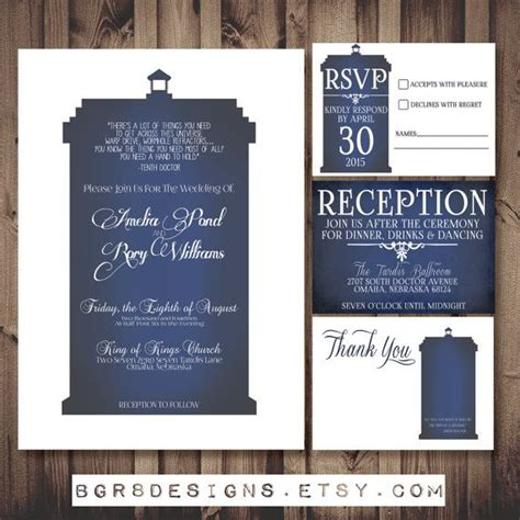 Doctor Who Tardis Wedding Invitation Set White Printable Diy Perfect Invite For Dr Who Fans Tardis Invitation Template