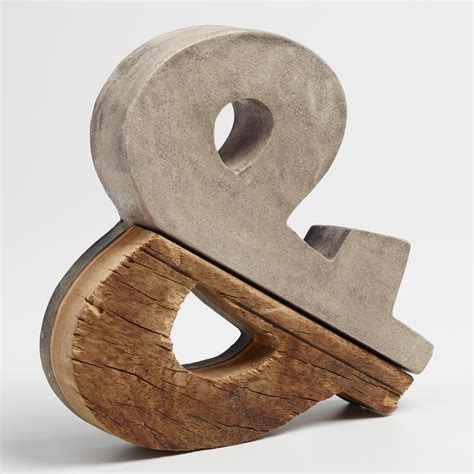 concrete decor concrete and wood ampersand decor world market