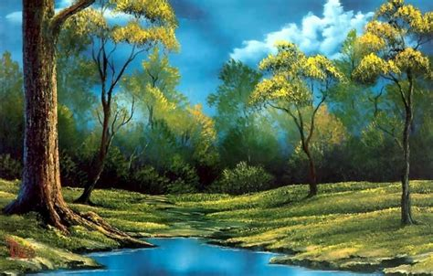 bob ross painting bushes wallpaper morning picture landscape day trees shore