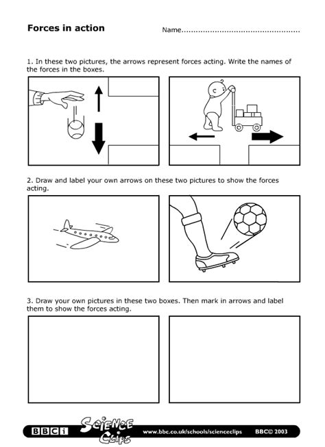 Forces Worksheet by Schools Science Forces In Worksheet