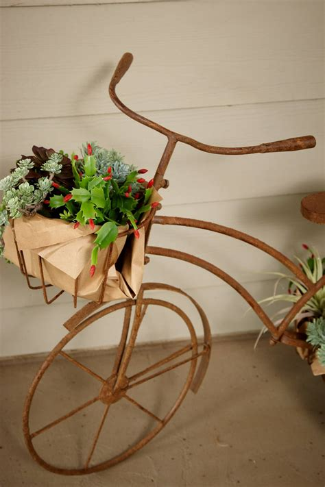 large bicycle plant holder with 3 baskets 36 quot x 27 quot