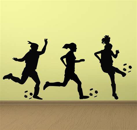 soccer wall sticker soccer wall decal three soccer players vinyl wall