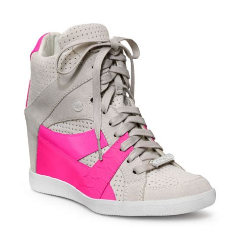 pink coach sneakers lyst coach wedge sneaker in pink