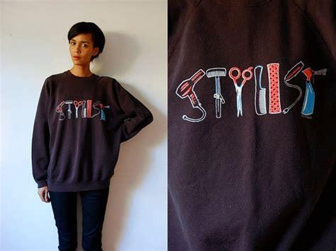 ethnic hairstylst reno vtg stylist hair tools printed black cotton sweatshirt