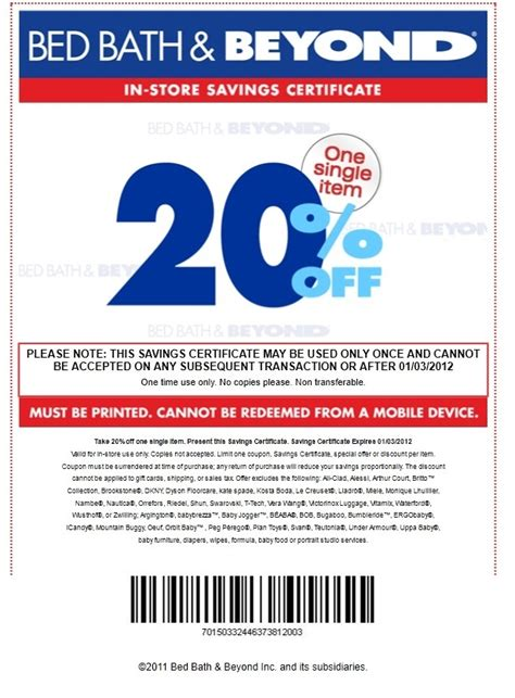 coupons for bed bath beyond bed bath and beyond coupon 20 percent discount bed bath