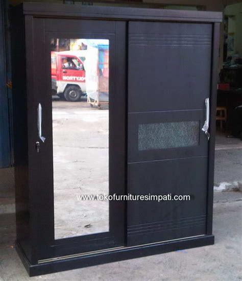Lemari Pakaian 2 Pintu Laci Almari Cat Grey Duco Kayu Jati Furniture lemari pakaian simpati furniture