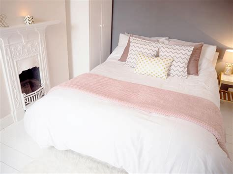 pink grey bedroom makeover on style