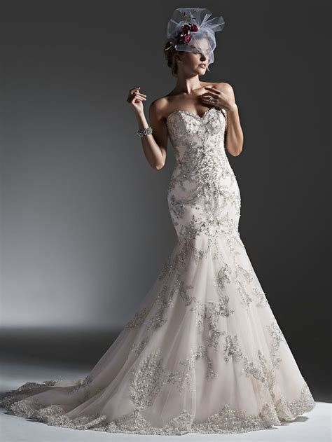 Inner Zipper Pearl White Zelena sparkly wedding dresses on a selection of the