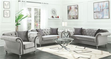 Silver Living Room Furniture Frostine Silver Living Room Set From Coaster Coleman Furniture