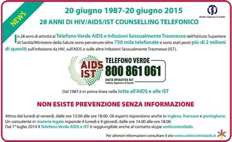 test hiv dopo quanto i primi 28 anni telefono verde aids e infezioni