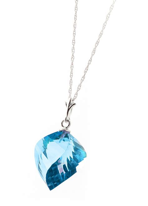 13 90 Ct Ruby blue topaz briolette pendant necklace 13 9ct in 9ct white