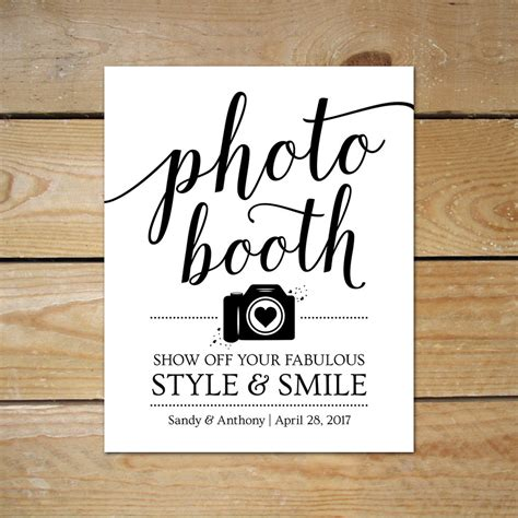 Printable Photo Booth Signs For Wedding Editable Photobooth Diy Wedding Signs Templates