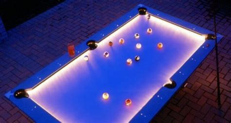 awesome outdoor pool table  built  led lights