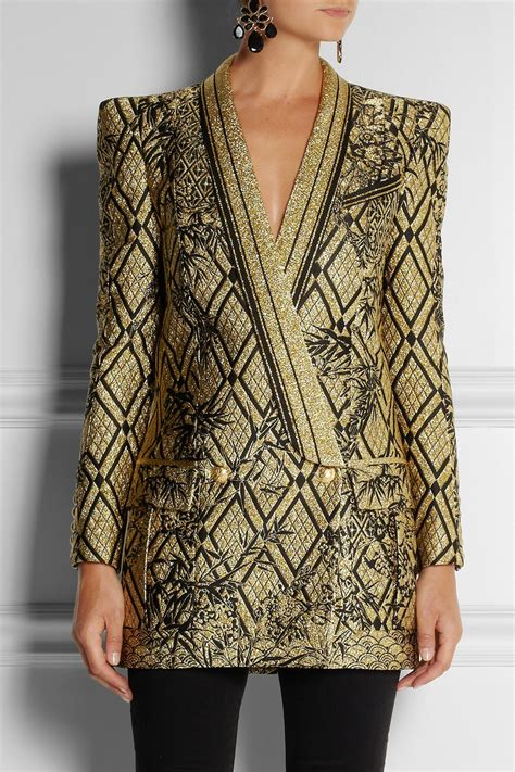 Versace Metallic Jacquard Snap Out Of It Bag by Balmain Metallic Jacquard Jacket In Metallic Lyst