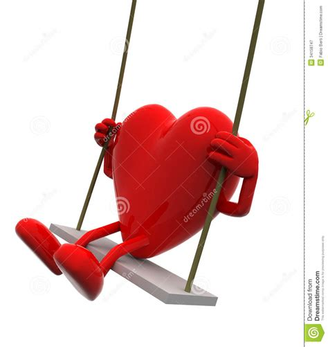 heart swing heart with arms and legs on a swing royalty free stock