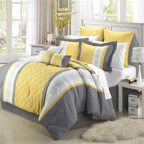 bedroom decor yellow grey comforter set bed in a bag sheet