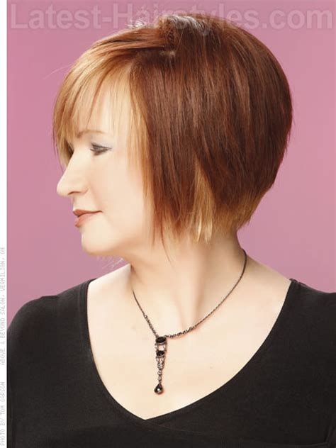 chin length sassy haircuts straight sassy chin length bob with highlights and bangs