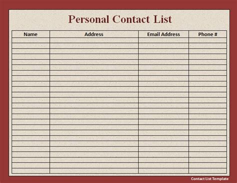 email contact list template 6 best images of phone number list template printable