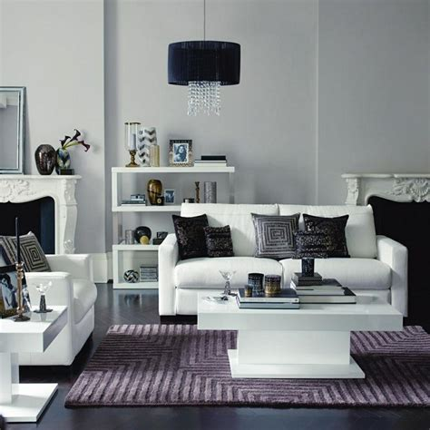 Home Decor Grey Walls White Leather Sofa Mauve Purple Lilac Tonal Black Decor Accents Light Grey Walls Home