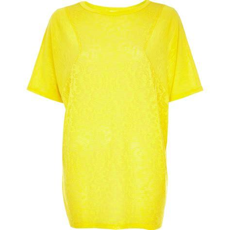 pattern bright yellow shirt river island yellow burnout pattern oversized tshirt in