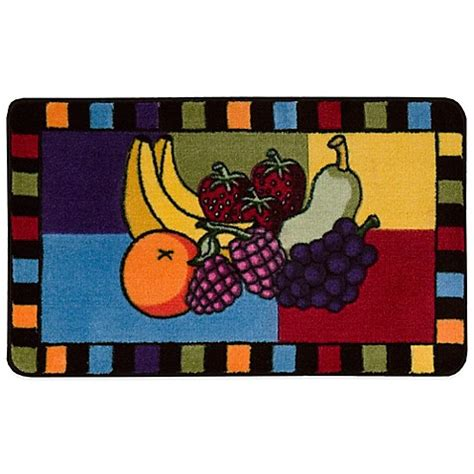 Nourison Grid Kitchen Rug Nourison 2 Foot 6 Inch X 1 Foot 6 Inch Fruit Grid Kitchen Rug Bed Bath Beyond