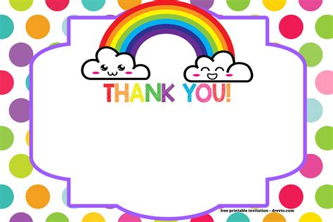 printable birthday cards free no sign up free printable rainbow invitation template thank you