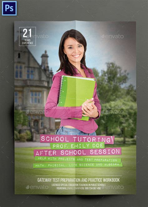 tutoring flyer templates  ms word psd