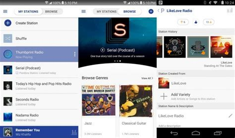 pandora android app 12 great radio apps for android and ios