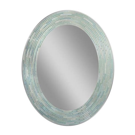 deco mirror 29 in l x 23 in w reeded sea glass oval wall