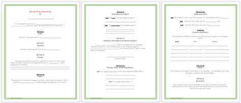 Articles Of Incorporation Templates Printable Forms For Word Certificate Of Incorporation Template Word