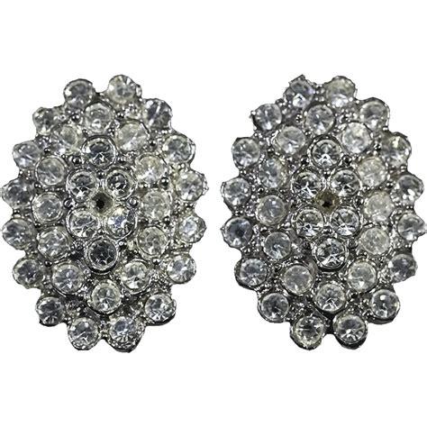 Rhinestone Clip Earrings fabulous vintage rhinestone clip on earrings from