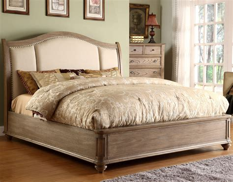 sleigh headboard king king upholstered sleigh headboard bed with nail head trim