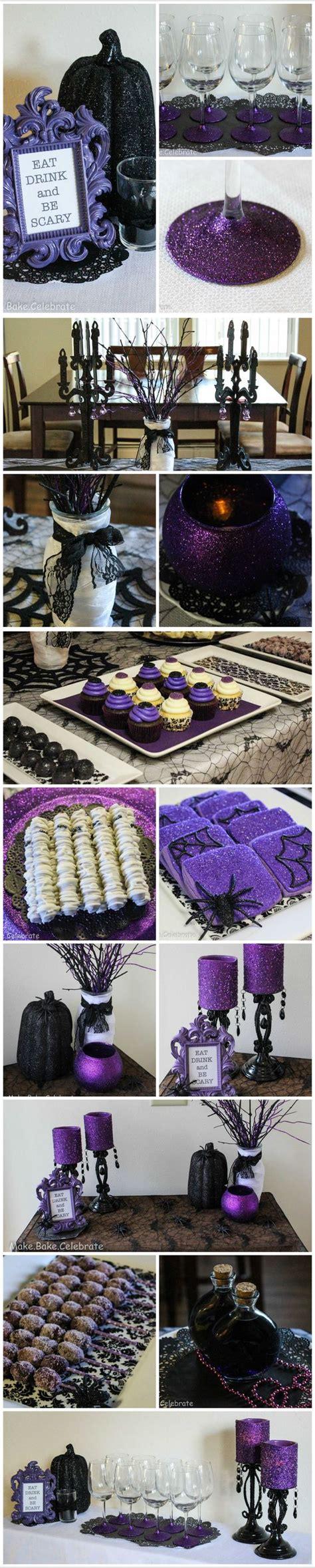 halloween themes for banks diy purple black glitter glam halloween party ideas