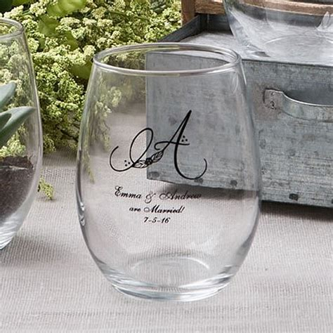 15 Oz. Monogrammed Stemless Wine Glass Wedding Favors