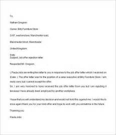 Sle Of Offer Letter For Employment by Offer Letter 9 Free For Word