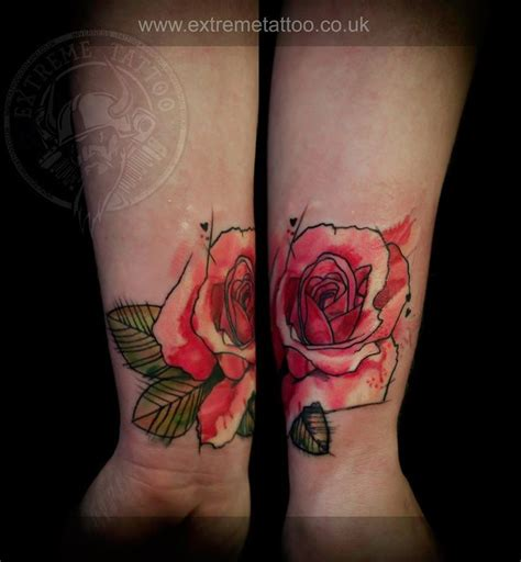 extreme tattoo and piercing inverness watercolor coveru up rose done at extreme tattoo piercing