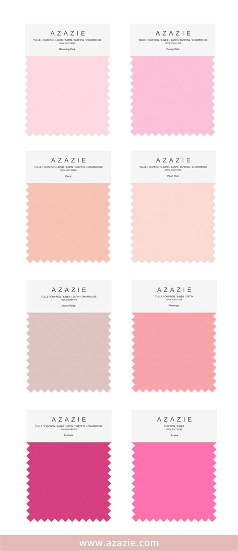 blushing pink color azazie pink swatch 8 shades 6 fabrics bridesmaid