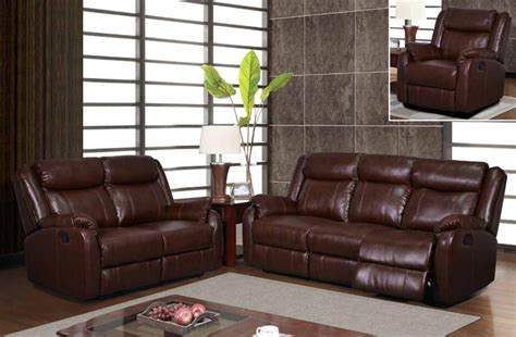 Recliner And Sofa Set Modern Brown Leatherette Reclining Sofa Set Sofa Loveseat And Chair Sofa Sets Gf U9303c Br