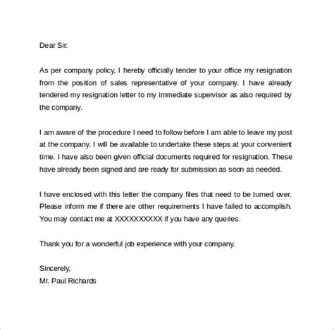 Resignation Letter By Hr Resignation Letter Format 14 Free Documents